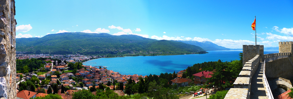 Lake Ohrid and the Galičica mountains from Samuil's Fortress