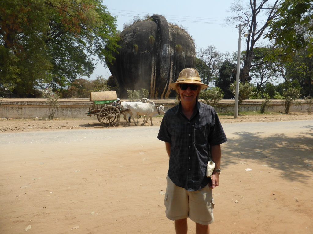 Mike at Mingun on the Irrawaddy, with local taxi bollock cart behind.
