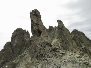 Would Sauron please stop hiding? Close to the top of Monte Rotondo; evil creatures formed by large fractures in the granite.