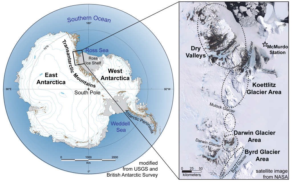 Figure 1. The Transantarctic Mountains span thousands of kilometers across the Antarctic continent. Metamorphic and igneous basement is well exposed (by Antarctic standards) in the southern Victoria Land region (area of the satellite image). The ellipses outline the different areas that we have focused on.