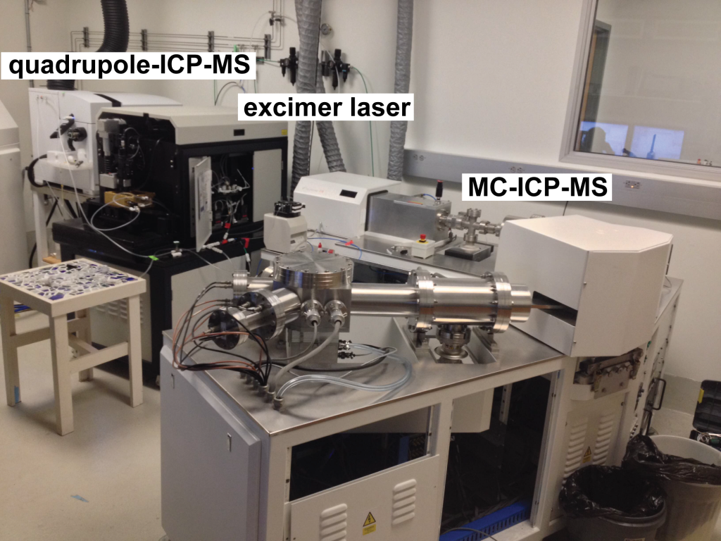 Figure 17. The ICP laboratory contains three ICP mass spectrometers (two pictured here) in one (small) room. We can connect the excimer laser to two mass spectrometers to simultaneously measure U-Th-Pb (±Hf) isotopes and trace elements in small (~10–50 μm diameter) mineral domains.