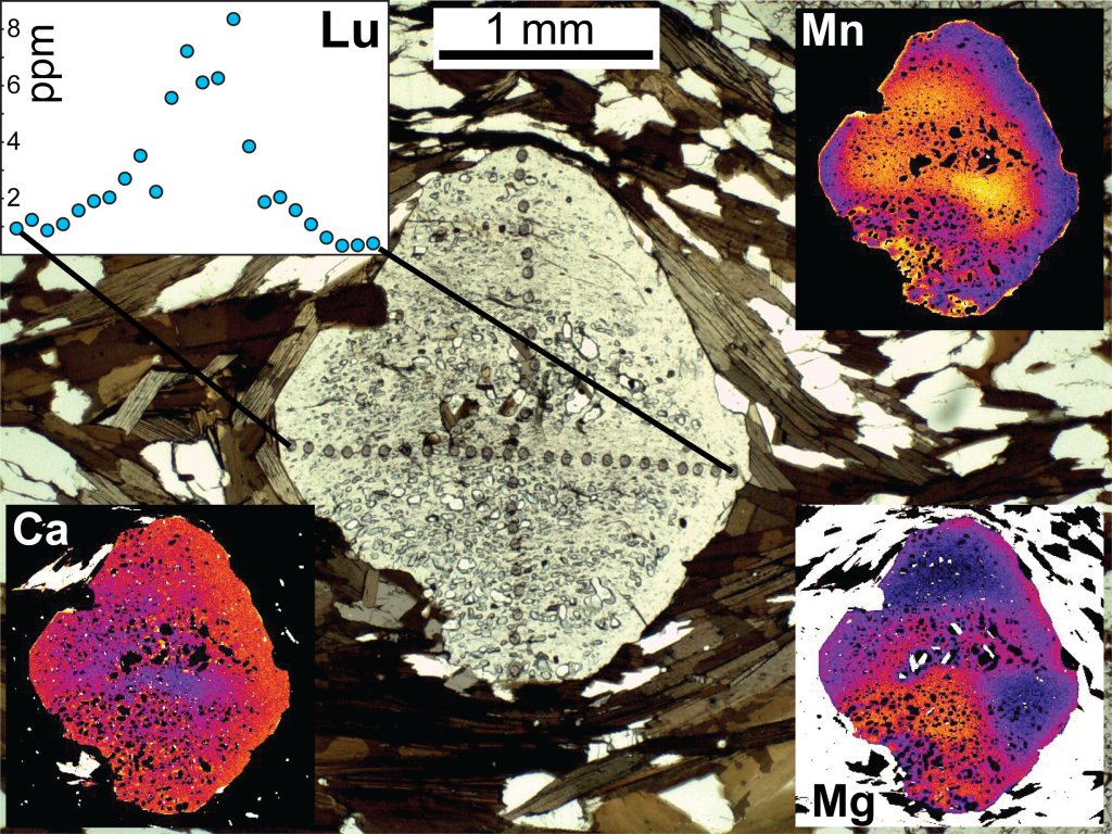 Figure 19. A photomicrograph of a garnet porphyroblast and corresponding Ca, Fe, and Mn X-ray maps. The trails of spots across the garnet are laser-ablation pits for trace element measurements. The profile of Lu concentration across one traverse is shown.