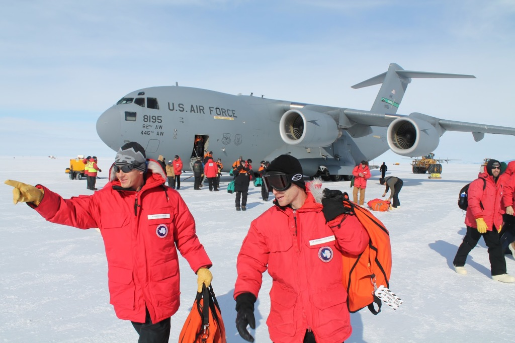 Figure 2.  Exiting the C17 after landing on the ice runway.