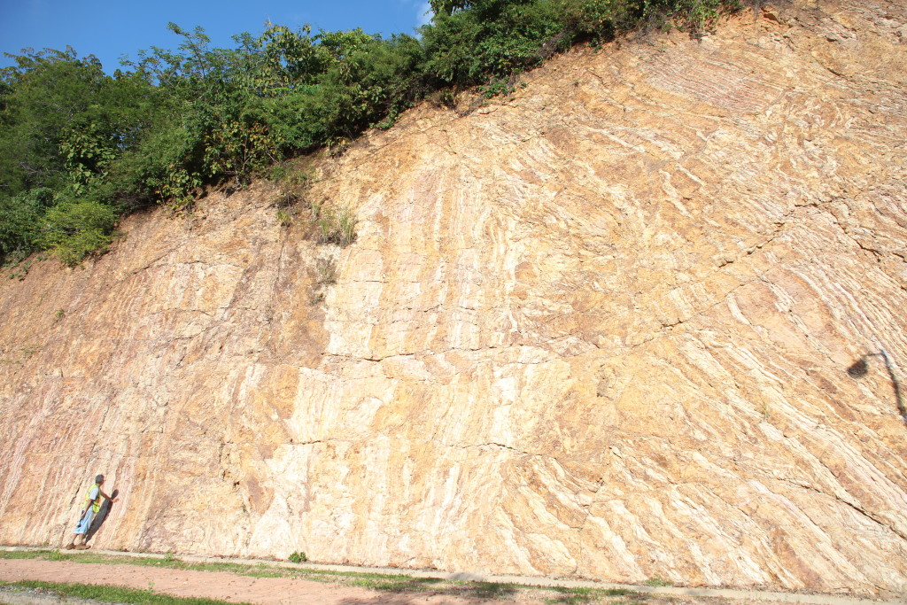 highly deformed turbidites (Roberto for scale)