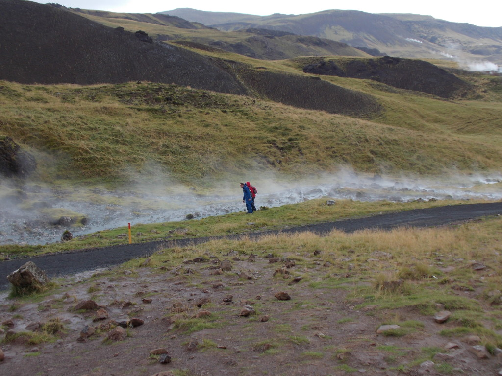 Ria and Paul checking out the steaming streams at Hveragerði.