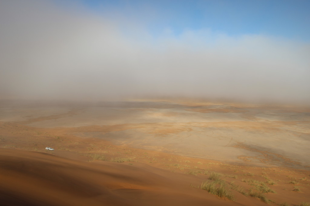 Can you spot the former river courses on this foggy morning in the Namib Sand Sea?