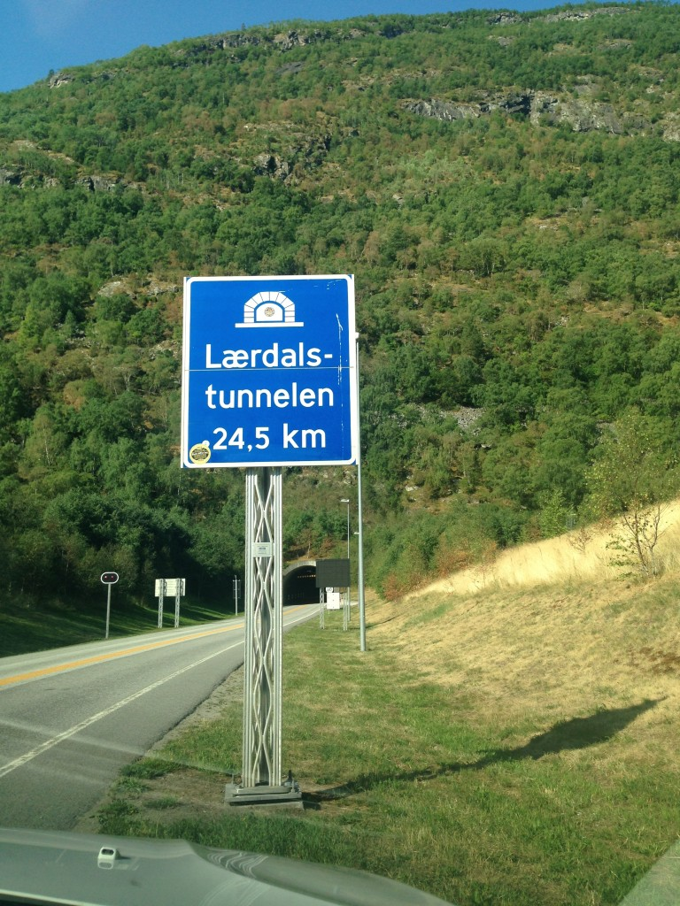 Entrance to the longest road tunnel in the world: the Laerdal Tunnel. The Norwegians have mastered the art of tunnel-building. This one, they feared, was so long it might induce mental strain, depression, or claustrophobia, so they split it into four sections with mood lighting that are punctuated by large openings where drivers can pull over and break the monotony.