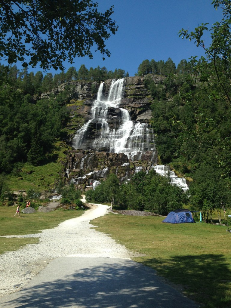 Waterfall campground on the way to Selje.