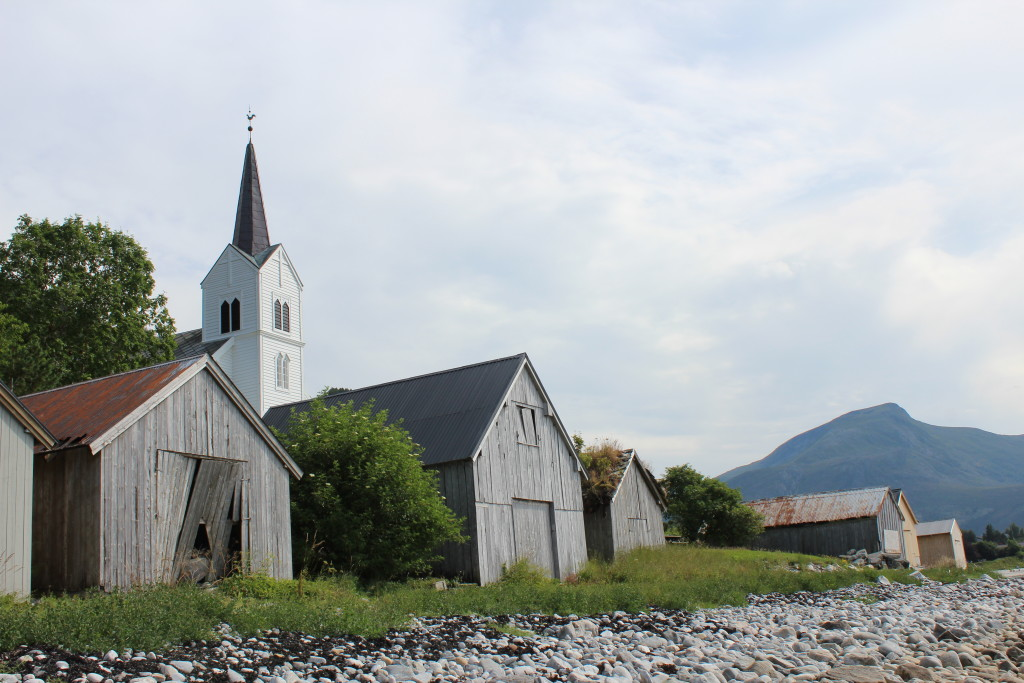 Boathouses and Chapel in Selje Norway
