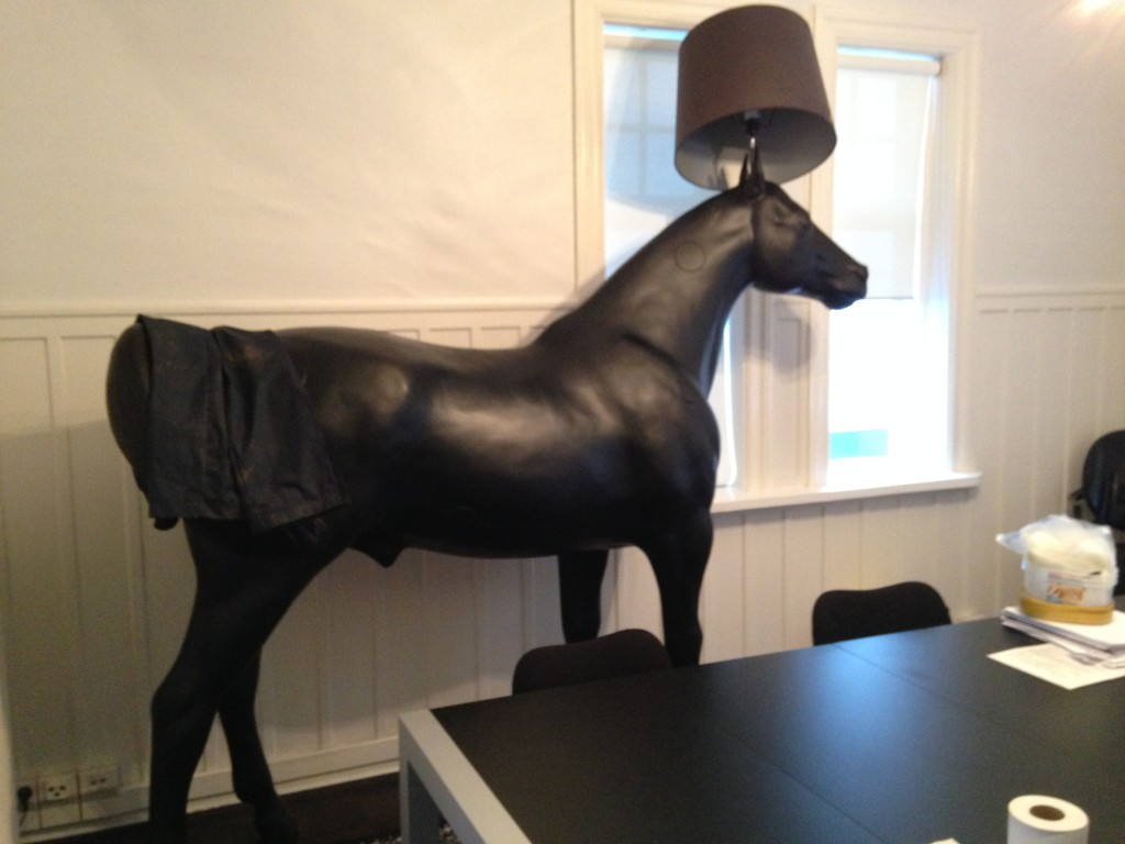 The life-sized plastic horse lamp