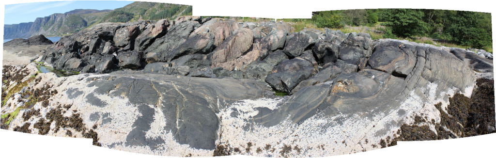 Eclogite boudins in foliated gneisses