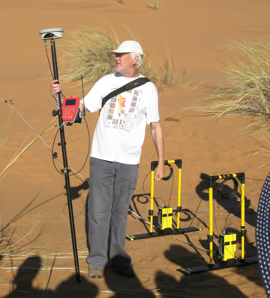 Kevin models the Namib Sand Sea dune mosaic map.