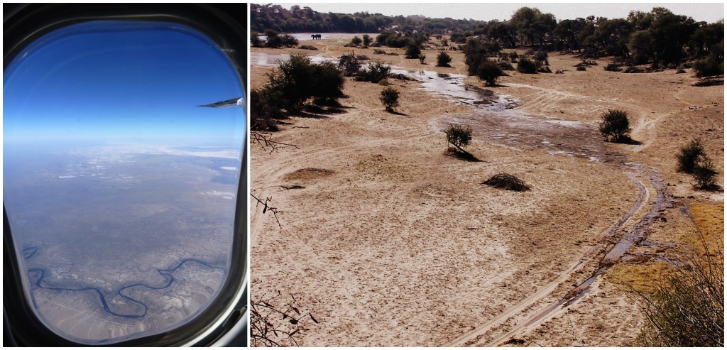Left: From the air, the Boteti flowing towards Rakops in 2014, the pans visible in the background.  Right: Watching the Boteti flow past Khumaga in 2009 for the first time in 30 years.