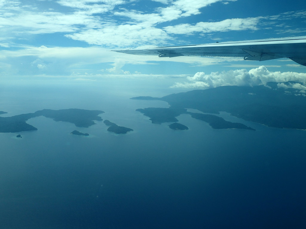 The view from the air over Cenderawasih Bay.