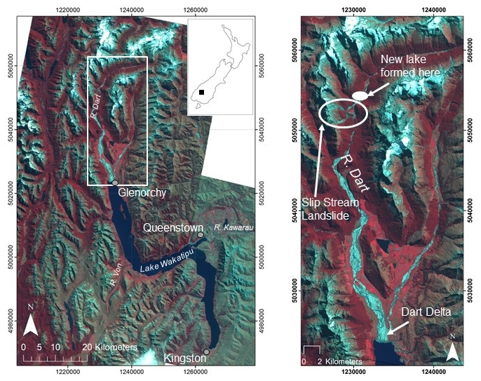 Figure 1: Location of the field area including Lake Wakatipu, the Dart River and the landslide at Slip Stream.