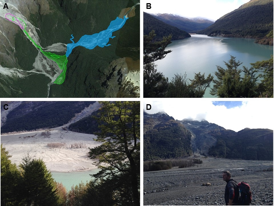 Figure 2: (A) The January 2014 landslide (in green) and the new lake (in blue) formed by partial damming of the Dart River (courtesy of Simon Cox); (B) the new lake; (C) and (D) views of the Slip Stream landslide.