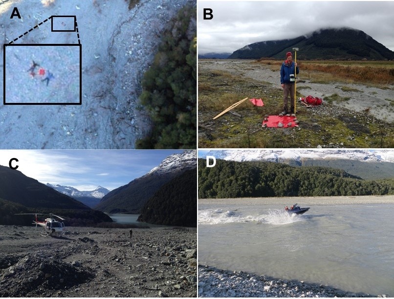 Figure 4: (A) and (B) surveying brightly coloured targets to tie the aerial imagery to real-world coordinates; (C) and (D) Helicopter and jet boat access to remote locations along the study reach.