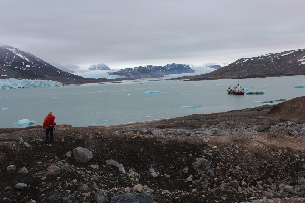 A view of the SS Stalbus in Kongsfjordhallet during al long day of felid work in UNIS's Arctic Late Quaternary Glacial Stratigraphy Class.
