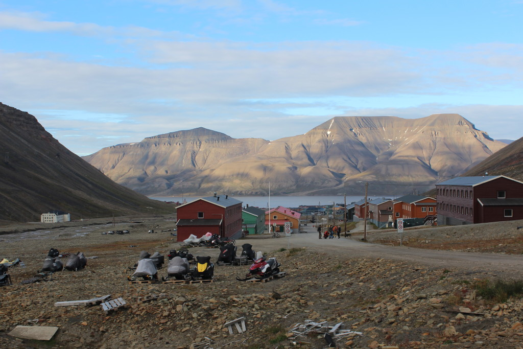 The view near the base of Longyearbyen glacier on the town of Longyearbyen in mid-August.