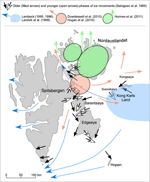 Proposed location of ice domes during the Last Glacial Maximum, and ice-flow directions reconstructed during glaciation  and subsequent deglaciation from Ingólfsson, and Landvik, 2013.