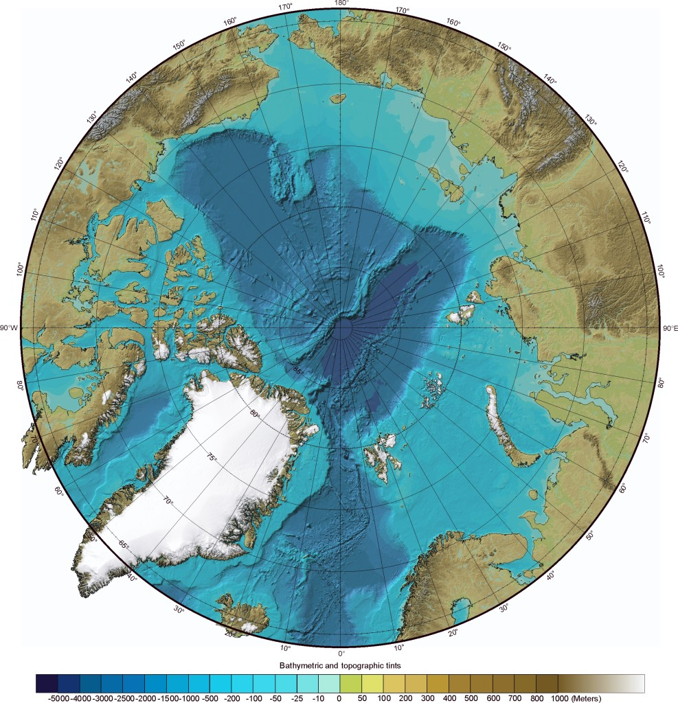 A polar projection shaded relief map indicating the location of the archipelago of Svalbard (www.geology.com)