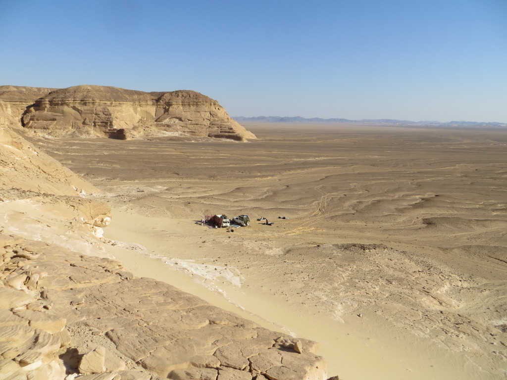 One of our many camps in the Red Sea Hills heading south down Wadi Qena. Topographic relief to the left of the photo comprises Cretaceous 'Nubian' sandstones capped by Eocene limestones.