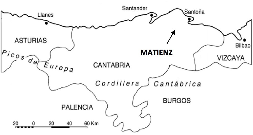 Map of northern Spain showing the rough location of the Matienzo depression.