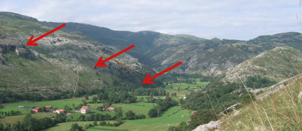 A view across form the entrance to Cueva d' Asiul showing the entrance locations to several cave systems at different altitudes in the valley.