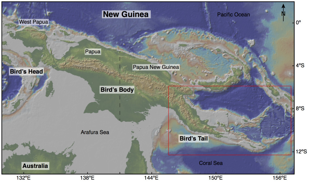 Figure 1. Map of New Guinea and northern Australia showing topography and bathymetry obtained from GeoMapApp (http://www.geomapapp.org; Ryan et al., 2009). The red outlined area marks location of Figure 2 in eastern PNG.