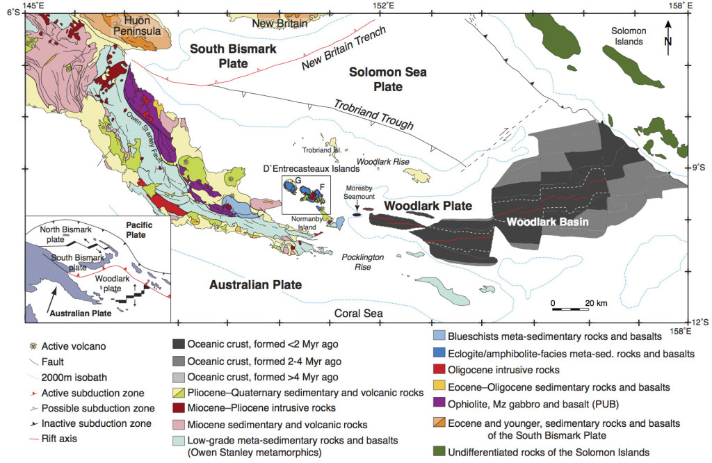 Figure 2. Simplified geologic map of eastern Papua New Guinea showing the major structures and rock types (after Baldwin et al., 2004). The area outlined indicates the location of the D'Entrecasteaux Islands (represented in Figure 3) west of the Woodlark Rift. The lower left inset (after Wallace et al., 2004) shows the plate-tectonic setting of the region.
