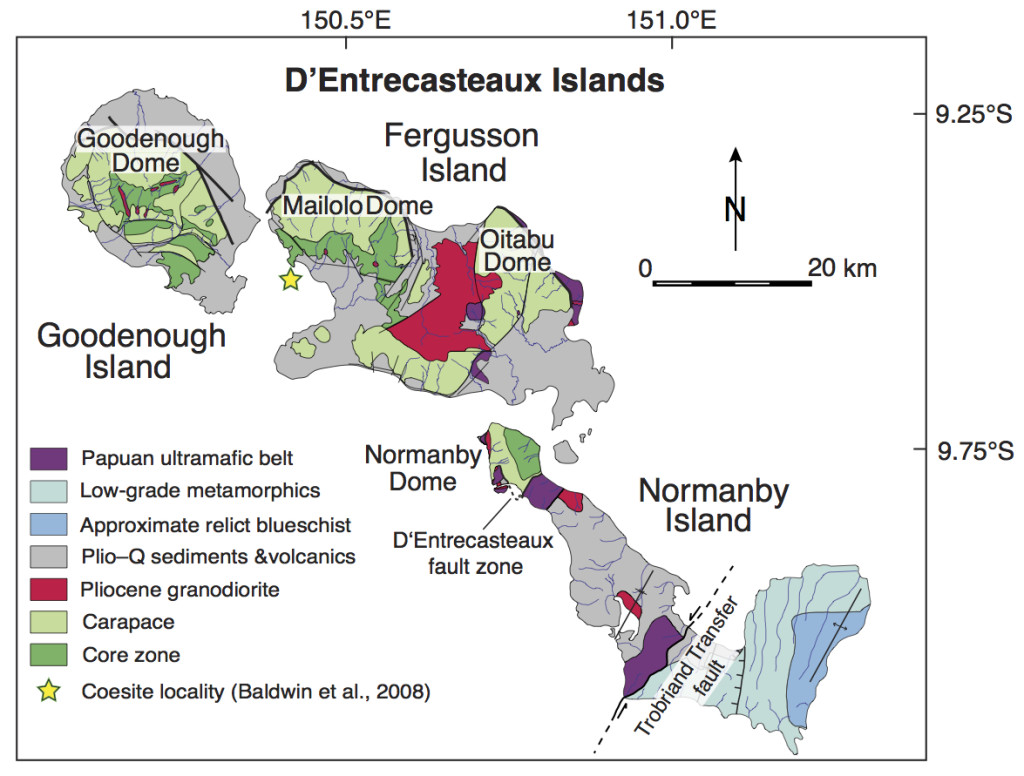 Figure 3. Simplified geological map of the D'Entrecasteaux Islands gneiss domes (after Davies, 1973; Hill, 1994; Little et al., 2007).