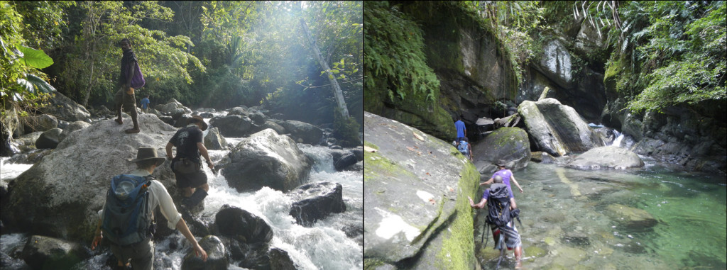 Figure 5. Left: Stacia Gordon, Tim Little, and Brian (guide) making their way up a tributary of the Fakwaoia River, Goodenough Island. Right: Traversing the Basuenoia River, Oitabu Dome, Fergusson Island.