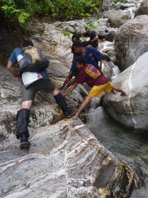 Figure 8. Guides providing a foot along the slippery migmatitic host gneiss.
