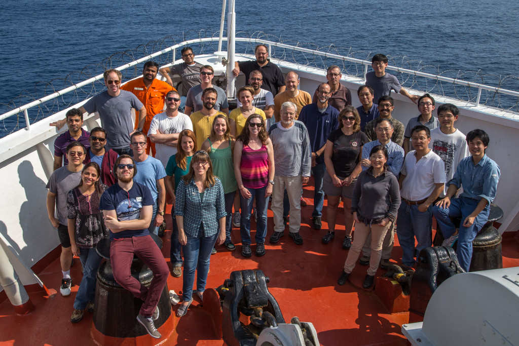 All the scientists from Exp. 353 enjoying the Indian Ocean sunshine (Credit William Crawford).