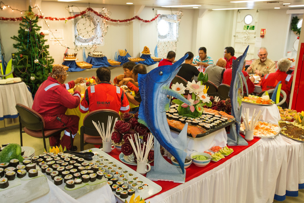 The sumptuous Christmas feast concocted by the catering team