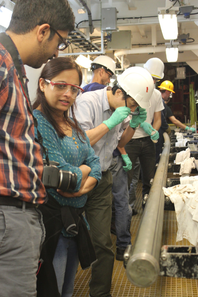 Scientists from the UK, USA and Japan examine the first core on deck