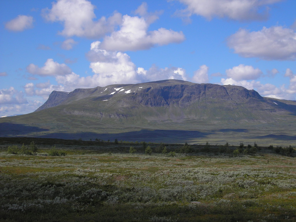 Fig. 3: E-facing scarp made of garnet-micaschists and amphibolites of the Seve nappe complex overlie metagreywackes of the Ammarnäs complex. View is to the W across the wetland of the Karsbäcken valley, which is a bird protection area. Mountain peaks are between 1250 to 1350 m above sea level.