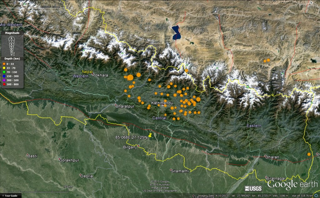 Figure 1. Google Earth image of Nepal showing location of the 25th April Gorkha earthquake and its aftershocks, courtesy of USGS.