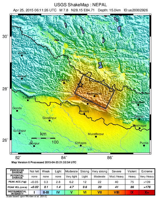 Figure 2. Shake map showing the intensity of ground shaking around the Gorkha earthquake, USGS.
