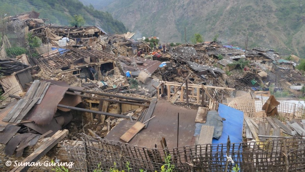 Figure 4. Destruction of Laprak village in the Burhi Gandaki valley, north of Gorkha, photo courtesy of Suman Gurung.