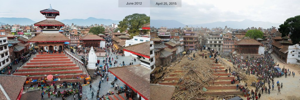 Figure 5. Before and after pictures of Durbar square in Kathmandu, courtesy of National Geographic.