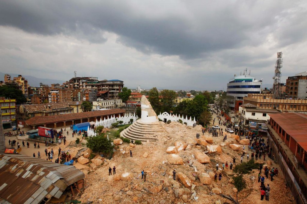 Figure 6. The Dharahara tower in Kathmandu collapsed during the earthquake, courtesy of National Geographic.