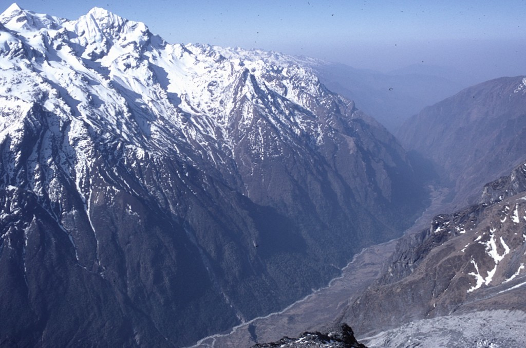 Figure 9. View down the South face of Langtang Lirung looking straight down the avalanche tract prior to the earthquake (photo Mike Searle).