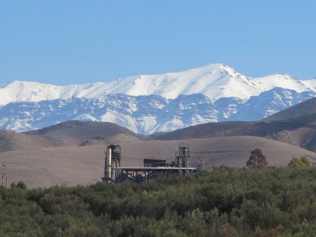 Mineral processing plant at the Hajjar mine in front of the Atlas Mountains.