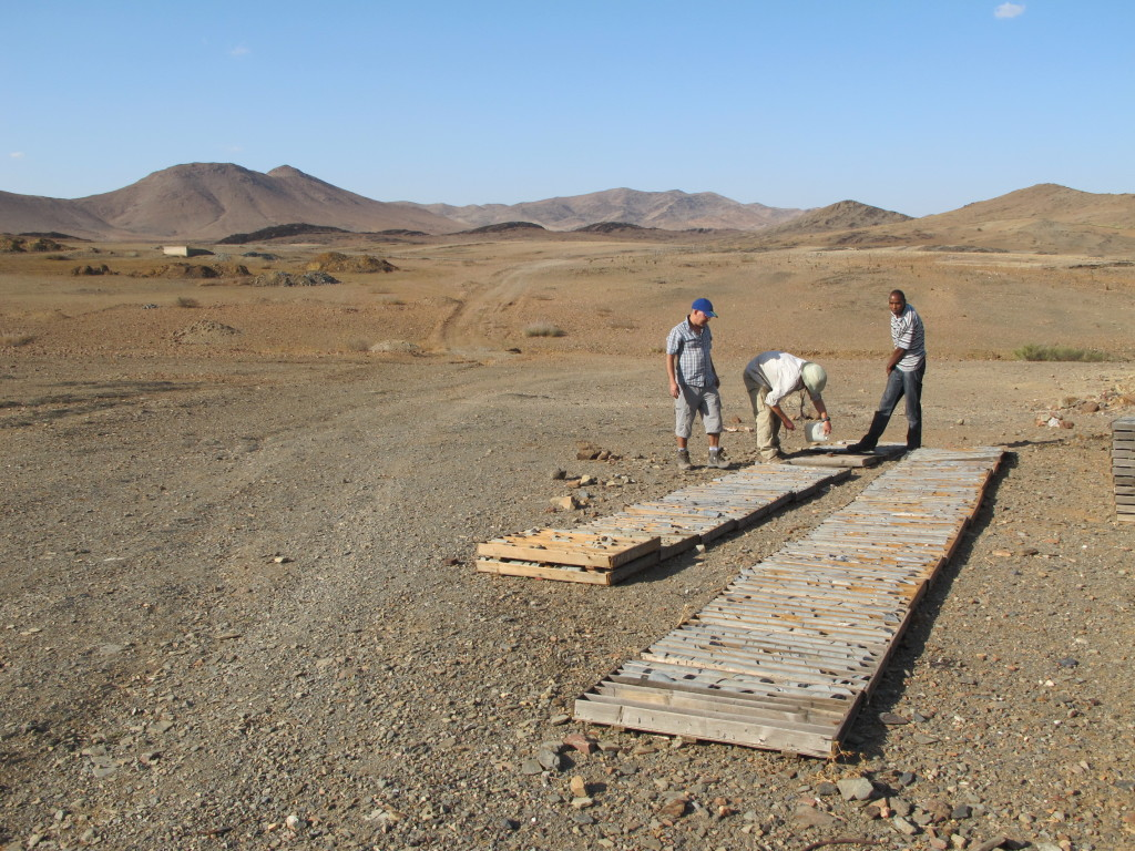 Studying core in the Jebilet field area.