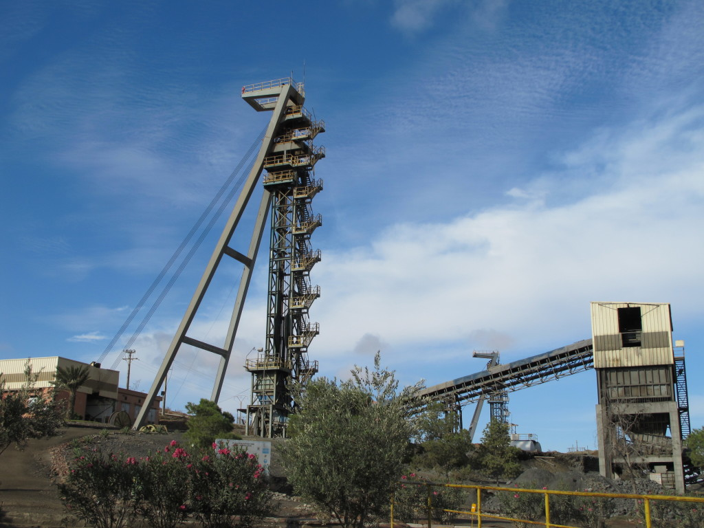 Mine shafts at the Draa Sfar mine.