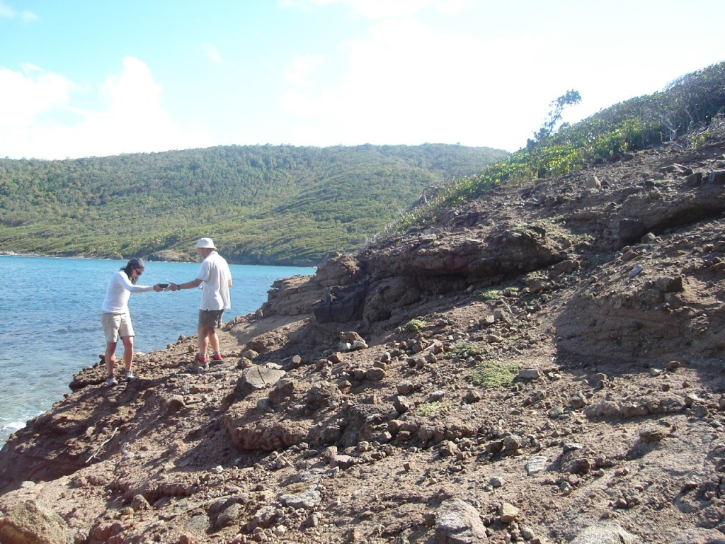 Fig. 1: Searching for samples on a beach in Bequia, Grenadines.