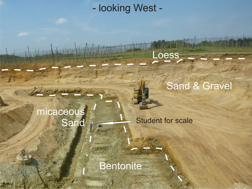 Fig. 3: A small Bavarian bentonite mine hosted in sand and gravel. Seen in center: My bachelor student taking samples.