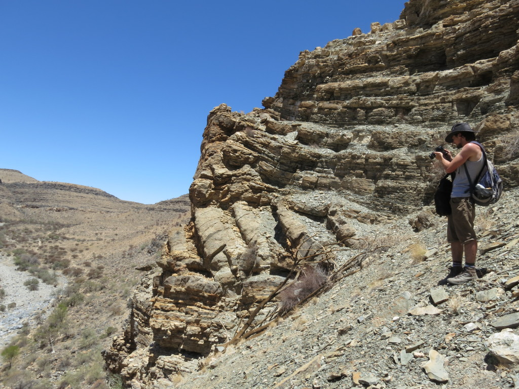 Leaning stromatolite columns at Zebra River. Picture by Rachel Wood.
