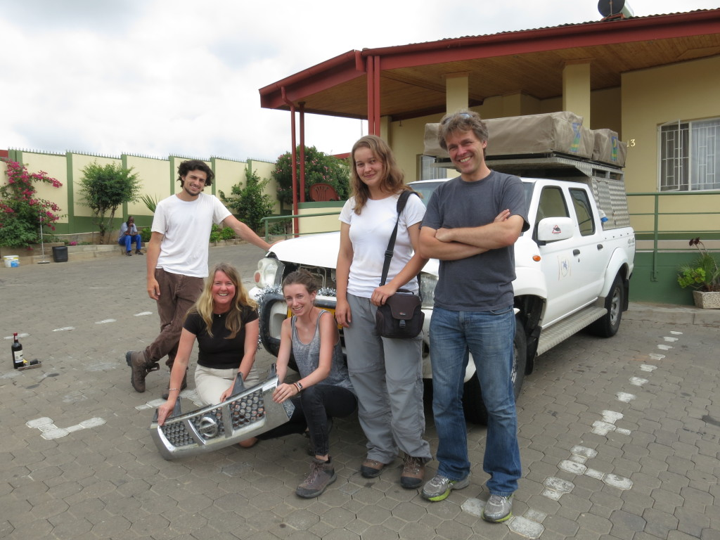 Fred Bowyer, Rachel Wood, Rosalie Tostevin, me, and Andrew Curtis, back in Windhoek and ready to head home. Picture by Karl-Heinz Hoffmann.
